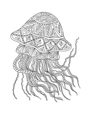Image of a fantasy jellyfish. Coloring book for children and adults. A beautiful pattern with patterns with small details.