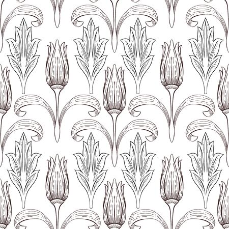 The contour of flowers and leaves in vintage style. Tulips and individual plant elements on a white background. Seamless vector pattern.