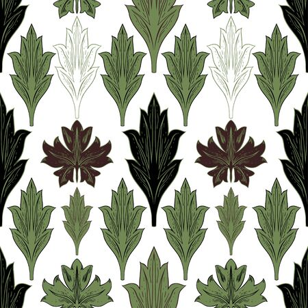 Various brown and green leaves in vintage style. Seamless vector pattern for different surfaces. Vectores