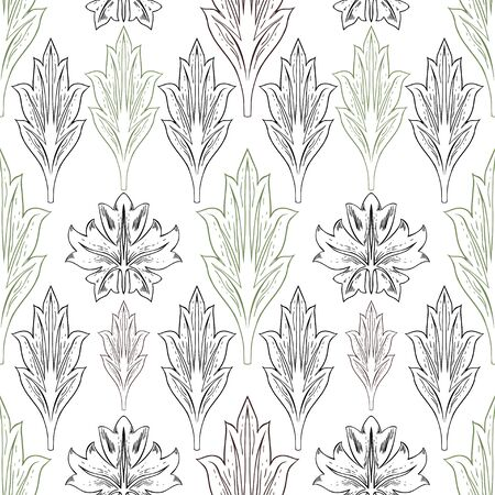 Different leaves in vintage style. Vegetable drawing of individual elements in green, brown and black color on a white background. Foto de archivo - 149383274