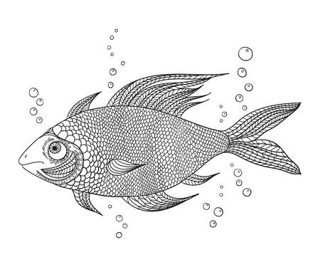 Image of a fantasy fish. Coloring book with patterns and small details for children and adults.
