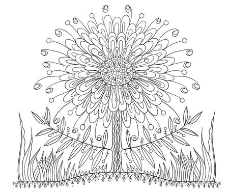 Fantastic flower coloring book for children and adults. Zen, meditation, relaxation. 일러스트