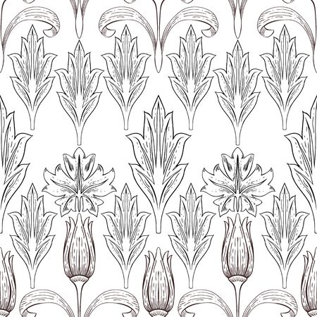 Flowers and different leaves in vintage style. Contour images in brown and black on a white background. Seamless pattern. Foto de archivo - 149383279