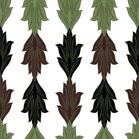 Pattern of vertically folded leaves. Fantasy plant elements in brown-green-black tones on a white background. Seamless vector pattern.