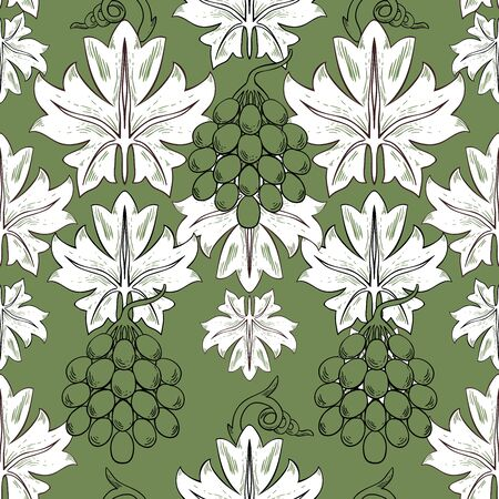 A bunch of grapes on a green background. Berries and leaves in vintage style. Seamless pattern. Foto de archivo - 149458207