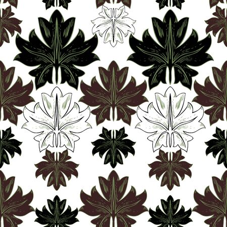 Pattern of plant leaves in vintage style. Brown, white and black elements on a white background. Seamless pattern. Foto de archivo - 149458215