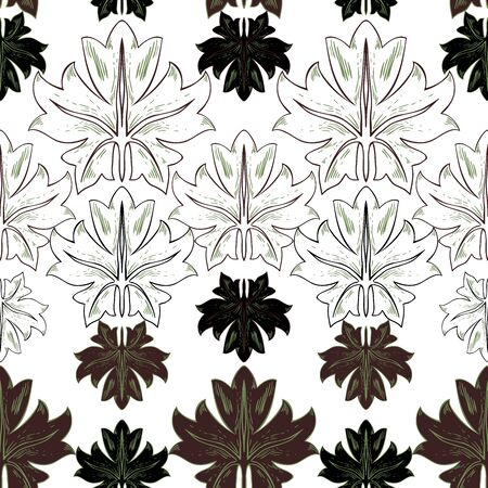 Pattern of white and brown leaves of plants on a white background in vintage style. Vector pattern. Foto de archivo - 149458212