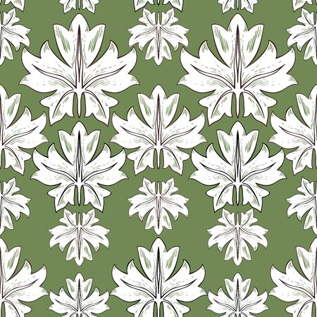 Pattern of white grape leaves. Individual plant elements of different sizes on a green background. Seamless vector pattern for different surfaces. Foto de archivo - 149458211