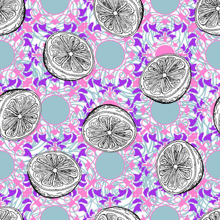 Black and white halves of an orange on a colored background. Separate images of cut citruses on a pink-gray vintage ornament. Seamless pattern.