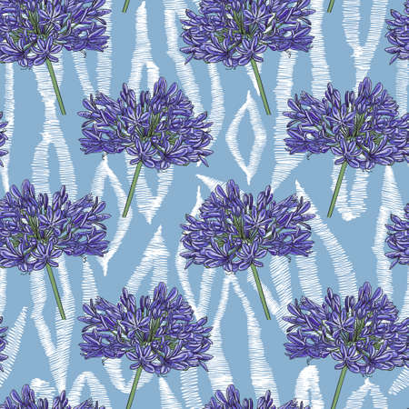 Image of blue Agapanthus flowers on an abstract ornament. White zigzag shapes on a blue background. Seamless pattern for different surfaces.