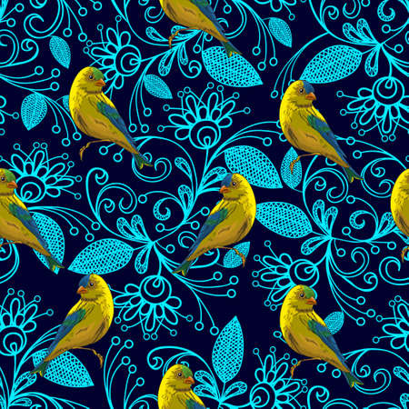 Little cute birds on a floral decorative background. Yellow on a blue-blue white ornament in ethnic style. Seamless pattern.