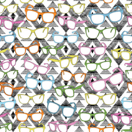Multi-colored glasses on a graphic black and white enthich ornament. Separate pink, blue, green, yellow and orange frames. Çizim