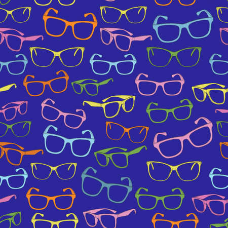 Pattern of colored glasses frames on a blue background. Seamless vector pattern. Çizim