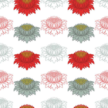Flowers in the Art Nouveau style. Green and red buds of abstract flowers on a white background. Seamless vector pattern. 向量圖像