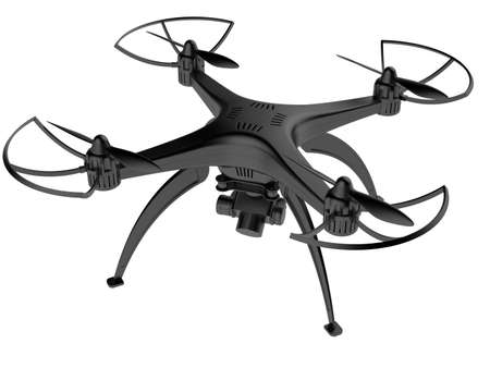 3d illustration of a drone on a white background Foto de archivo