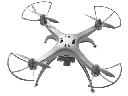 3d illustration of a drone on a white background Stock Photo