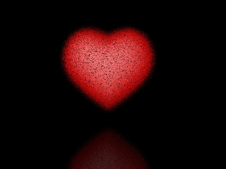 Red heart of the small pieces on a black  background Stock Photo - 12192064