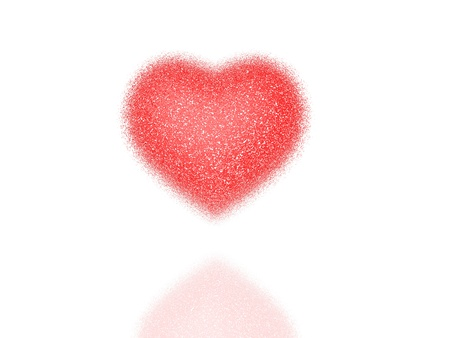 Red heart of the small pieces on a white  background Stock Photo - 12192065