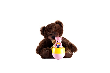 sweet stuff: Brown Teddy Bear and a Pink Plastic Teddy Bear   Stock Photo