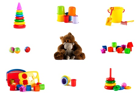 Toys on a white background photo