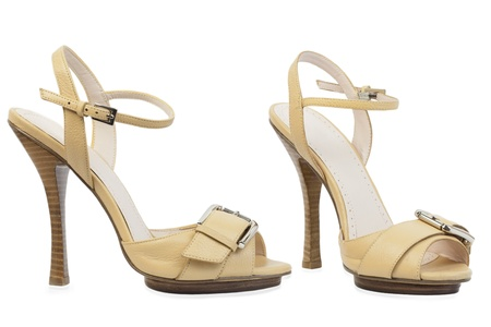high heeled: Light brown high -heeled shoes