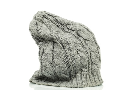 Oversized beanie in grey color on a white background Banco de Imagens