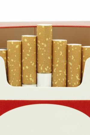 Cigarettes in opened cardboard box