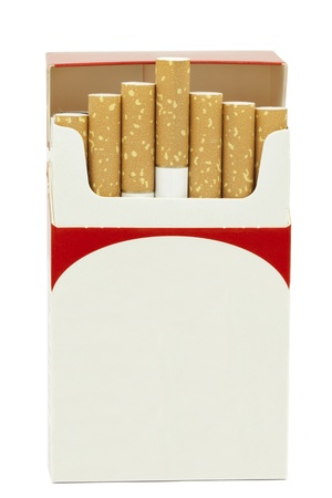 Cigarettes in opened cardboard box on a white background Stock Photo