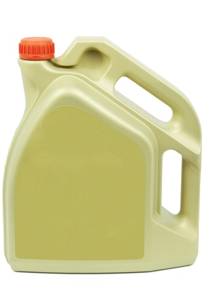 Engine oil can with a red cap on a white background photo