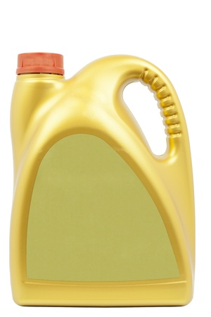 Engine oil can of gold color on a white background photo