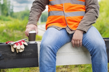 rushed: Worker with a coffee Stock Photo
