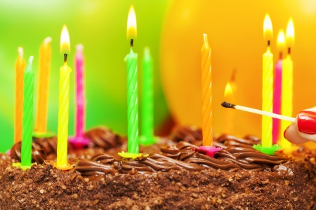Matches near the candles on the birthday cake Stock Photo - 22111523