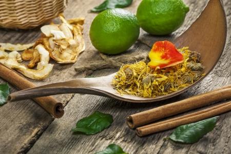 Natural herbal tea near lemons