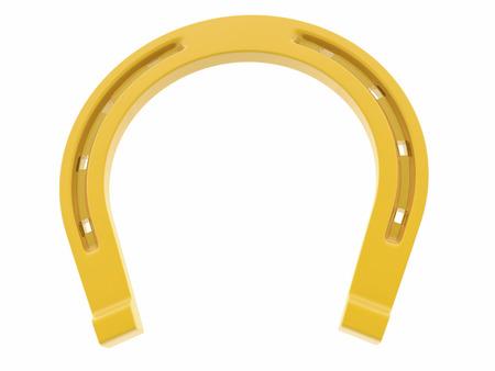 golden horseshoe: Golden horseshoe on white Stock Photo