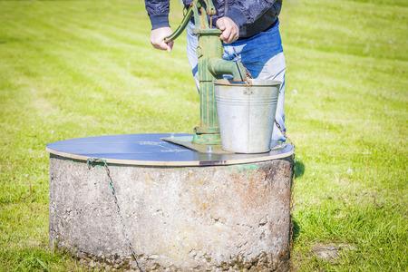 water spring: Man powered water pump