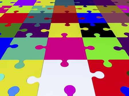 puzzle pieces: Puzzle pieces in various colors Stock Photo