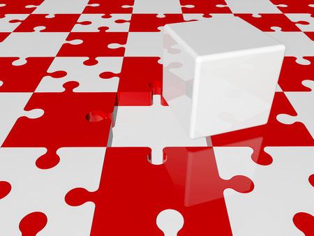 piezas de rompecabezas: cubo blanco en las piezas del rompecabezas en colores rojos y blancos