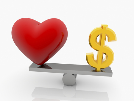 symbols  metaphors: Red Heart and USA dollar sign on seesaw Stock Photo