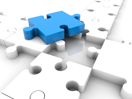 missing link: Blue puzzle piece on white puzzle pieces near hole Stock Photo