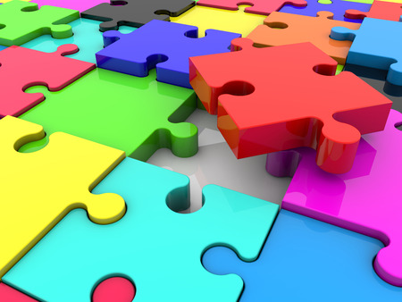 jig: Puzzle pieces in various colors Stock Photo