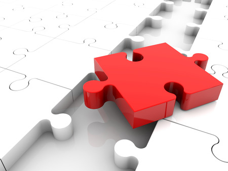 red puzzle piece: Red puzzle piece on white puzzle pieces
