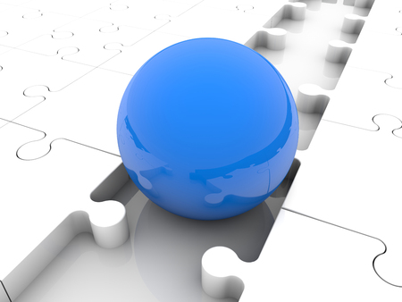 missing link: Blue ball between puzzle pieces
