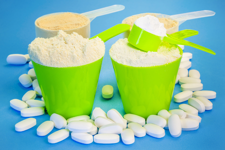 whey: Four scoops with pure whey protein ,creatine,magnesium tablets and pea protein