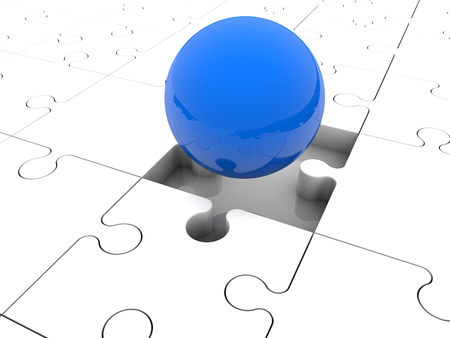 blue ball: Blue ball on puzzle pieces Stock Photo