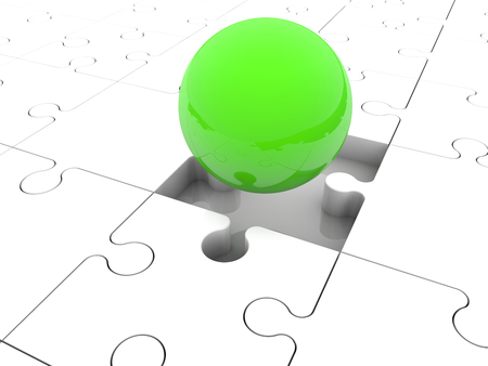 missing link: Green ball between puzzle pieces