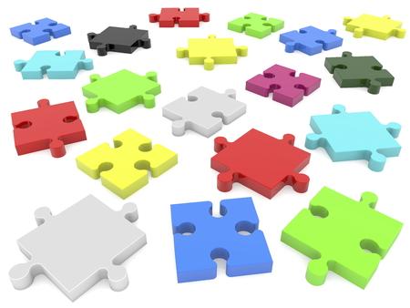 Randomly pieces of puzzle Stock Photo