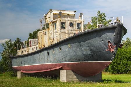 trawler net: Old fishing trawler boat on blue sky