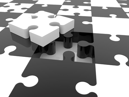 Incomplete puzzle concept in black and white colors