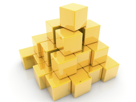 Pyramid of toy cubes in golden color