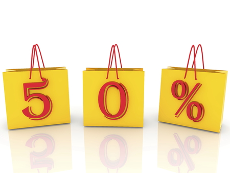 Fifty percent off sale concept on shopping bags